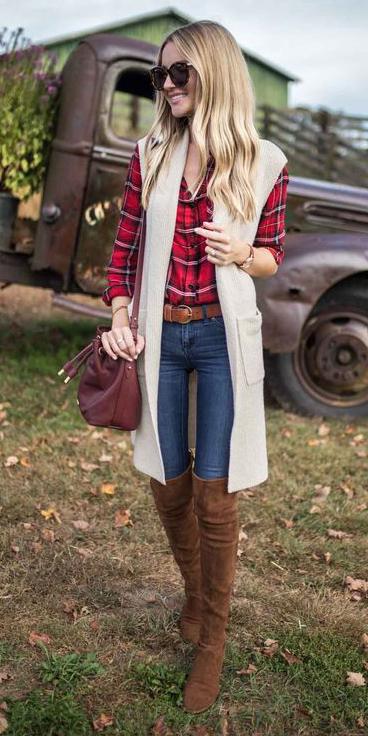 blue-navy-skinny-jeans-belt-red-plaid-shirt-white-vest-knit-blonde-burgundy-bag-cognac-shoe-boots-otk-fall-winter-weekend.jpg