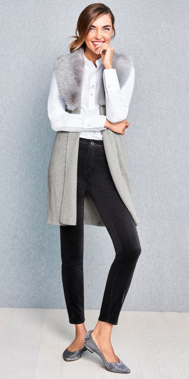 black-skinny-jeans-white-collared-shirt-hairr-grayl-vest-knit-grays-shoe-flats-fur-fall-winter-lunch.jpg