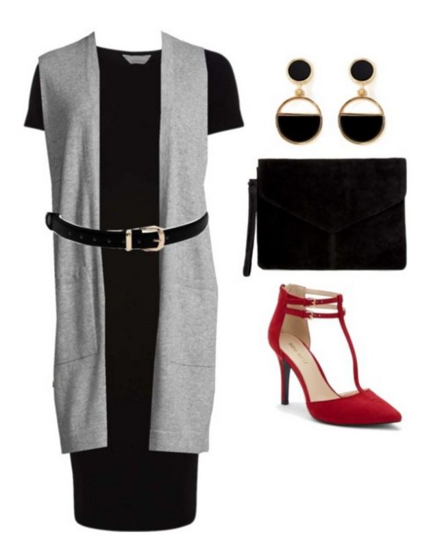 black-dress-shift-tshirt-belt-grayl-vest-knit-red-shoe-pumps-black-earrings-black-bag-clutch-fall-winter-work.jpg