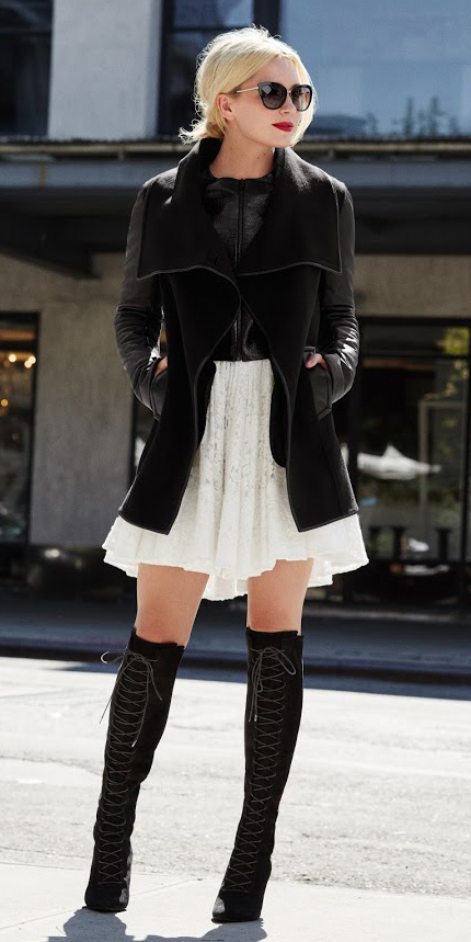 white-dress-aline-swing-black-jacket-moto-black-vest-knit-blonde-sun-black-shoe-boots-fall-winter-pony-lunch.jpg
