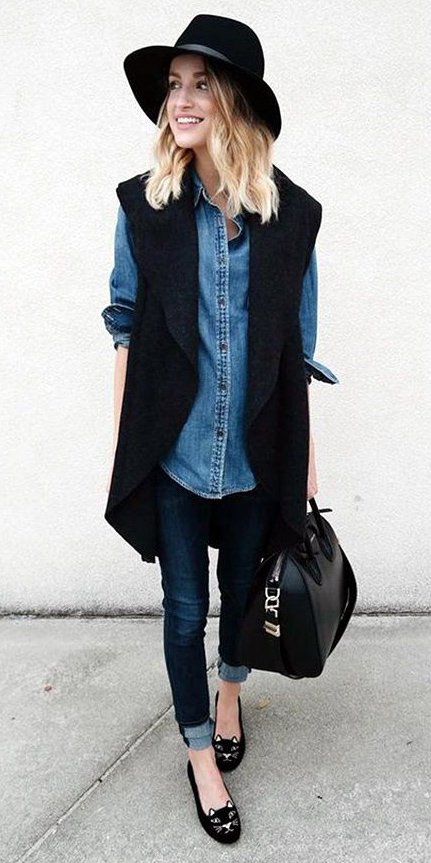 blue-navy-skinny-jeans-blue-med-collared-shirt-blonde-hat-black-bag-black-vest-knit-black-shoe-flats-fall-winter-weekend.jpg