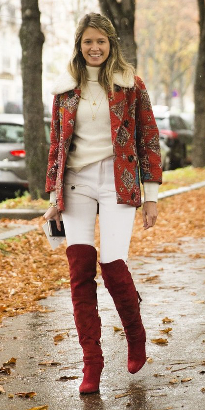 white-skinny-jeans-red-shoe-boots-otk-red-jacket-coat-peacoat-print-white-sweater-turtleneck-blonde-fall-winter-lunch.jpg
