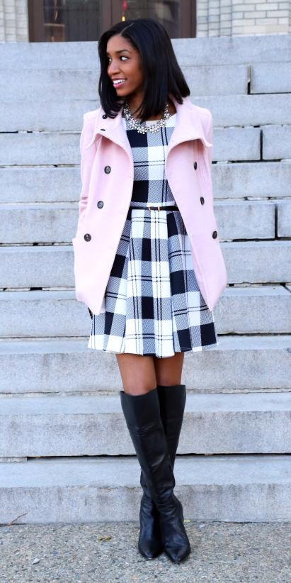 white-dress-aline-bib-necklace-print-plaid-black-shoe-boots-lob-brun-pink-light-jacket-coat-peacoat-fall-winter-lunch.jpg