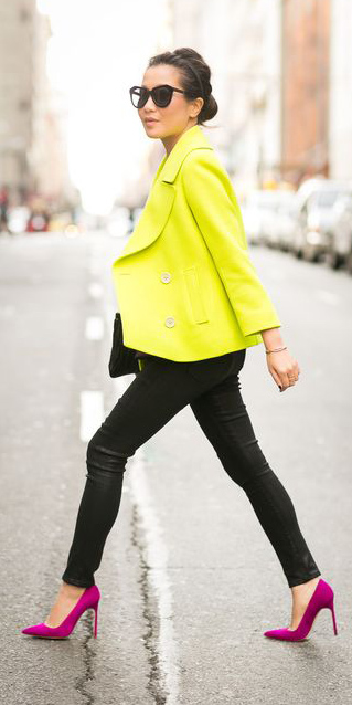 black-skinny-jeans-pink-shoe-pumps-brun-bun-sun-leather-neon-yellow-jacket-coat-peacoat-fall-winter-lunch.jpg