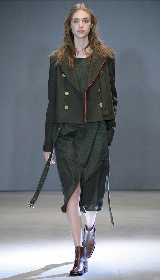 green-olive-dress-midi-hairr-brown-shoe-booties-green-olive-jacket-coat-peacoat-fall-winter-lunch.jpg