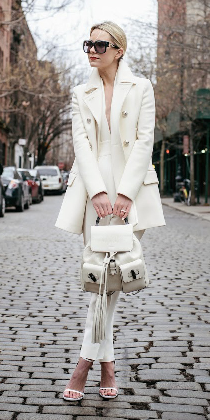 white-jumpsuit-blonde-sun-white-shoe-sandalh-white-bag-pack-mono-bun-white-jacket-coat-peacoat-fall-winter-lunch.jpg