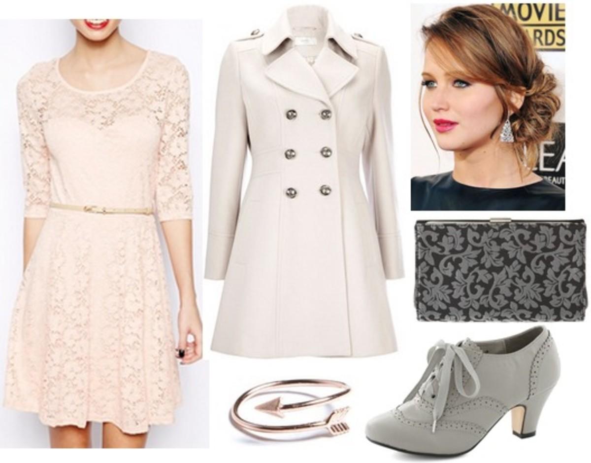 white-dress-mini-lace-gray-shoe-booties-hairr-bracelet-white-jacket-coat-peacoat-fall-winter-dinner.jpg