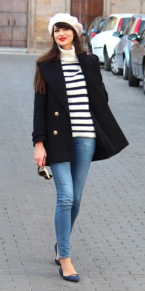 white-sweater-turtleneck-stripe-hat-beret-brun-blue-med-skinny-jeans-blue-shoe-flats-black-jacket-coat-peacoat-fall-winter-lunch.jpg