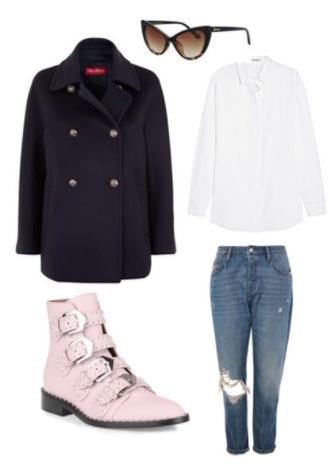 blue-med-boyfriend-jeans-white-collared-shirt-sun-pink-shoe-booties-black-jacket-coat-peacoat-fall-winter-weekend.jpg
