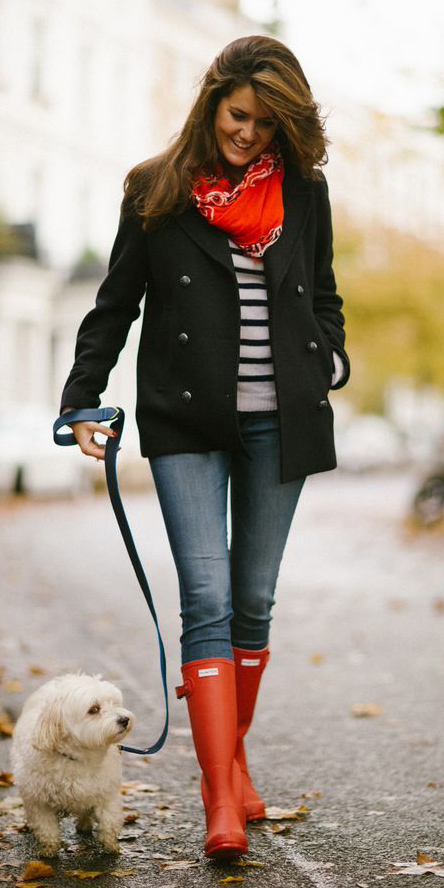 blue-med-skinny-jeans-black-jacket-coat-peacoat-red-shoe-boots-rain-wellies-red-scarf-neck-bandana-black-tee-stripe-fall-winter-hairr-weekend.jpg
