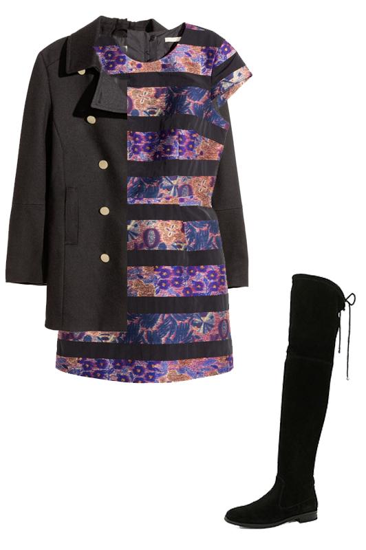purple-royal-dress-mini-shift-stripe-black-shoe-boots-otk-black-jacket-coat-peacoat-fall-winter-dinner.jpg