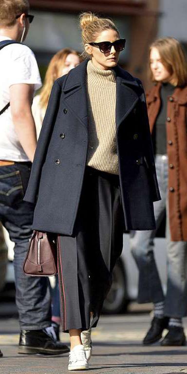 black-culottes-pants-tan-sweater-blonde-bun-sun-oliviapalermo-white-shoe-sneakers-black-jacket-coat-peacoat-fall-winter-weekend.jpg
