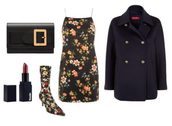 black-dress-slip-floral-print-black-shoe-booties-black-bag-clutch-black-jacket-coat-peacoat-fall-winter-dinner.jpg