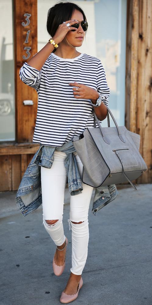 white-skinny-jeans-blue-navy-tee-stripe-gray-bag-tote-hairr-pony-blue-light-jacket-jean-tan-shoe-flats-spring-summer-weekend.jpg