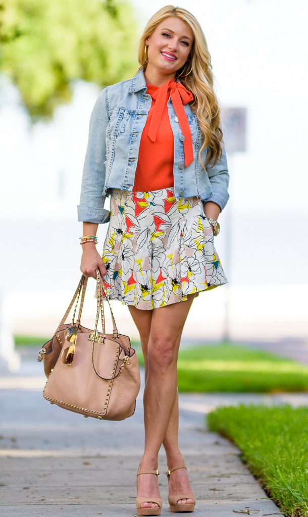 white-mini-skirt-orange-top-blouse-blue-light-jacket-jean-print-tan-bag-hoops-tan-shoe-sandalw-howtowear-fashion-style-outfit-spring-summer-blonde-lunch.jpg