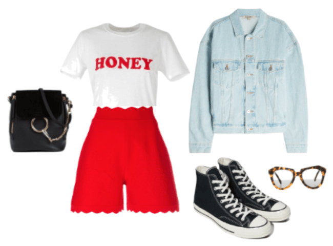 how-to-style-red-shorts-white-graphic-tee-blue-light-jacket-jean-black-shoe-sneakers-black-bag-spring-summer-fashion-weekend.jpg