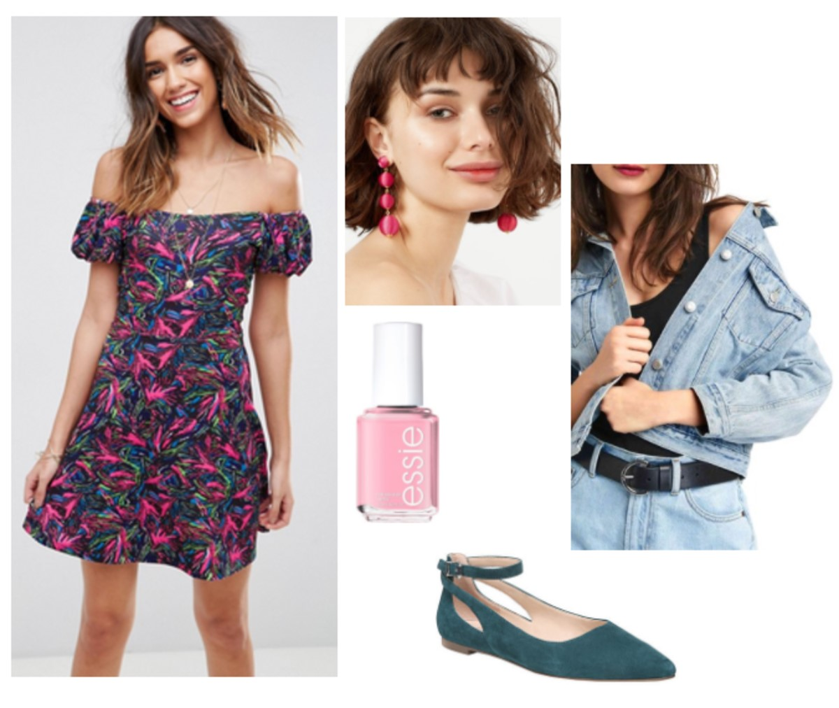 pink-magenta-dress-mini-offshoulder-floral-print-blue-shoe-flats-nail-earrings-blue-light-jacket-jean-spring-summer-lunch.jpg