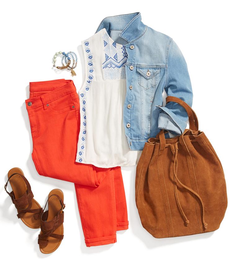 orange-skinny-jeans-white-top-blue-light-jacket-jeans-cognac-bag-cognac-shoe-sandals-bracelet-howtowear-fashion-style-outfit-spring-summer-lunch.jpg