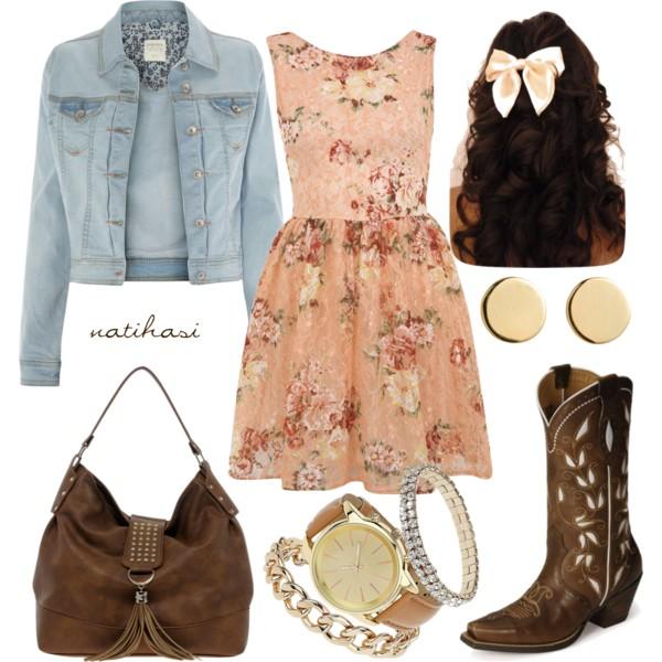 peach-dress-mini-floral-print-watch-blue-light-jacket-jean-brown-bag-brown-shoe-boots-studs-fall-winter-weekend.jpg