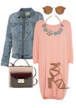 o-peach-dress-sweater-blue-light-jacket-jean-bib-necklace-tan-shoe-sandalh-tan-bag-sun-howtowear-fashion-style-outfit-spring-summer-lunch.jpg