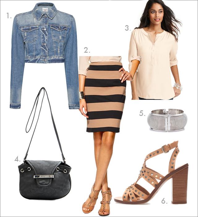 o-tan-pencil-skirt-white-top-blouse-blue-light-jacket-jean-stripe-print-black-bag-tan-shoe-sandalh-bracelet-howtowear-fashion-style-outfit-spring-summer-lunch-work.jpg