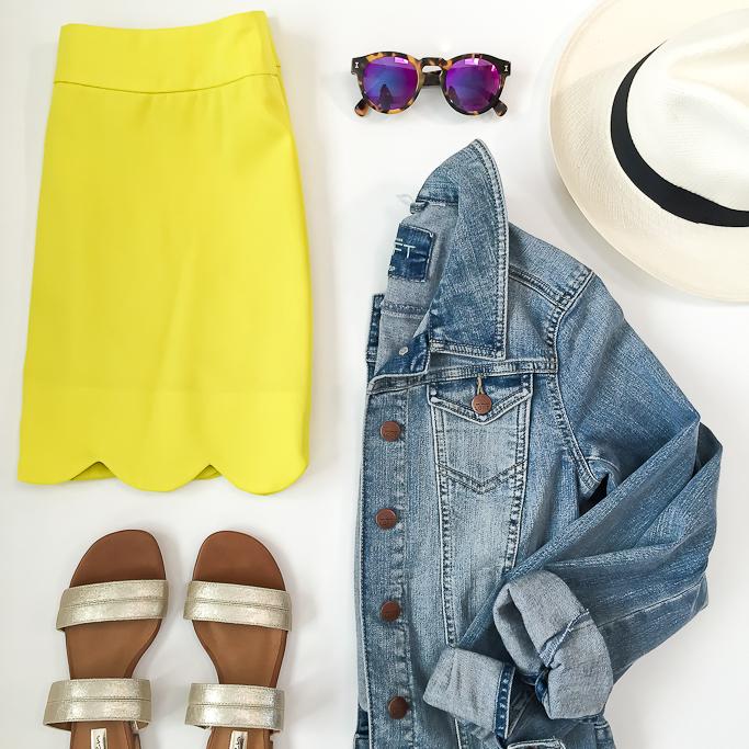 yellow-mini-skirt-blue-light-jacket-jean-hat-panama-sun-tan-shoe-sandals-howtowear-fashion-style-spring-summer-outfit-weekend.jpg