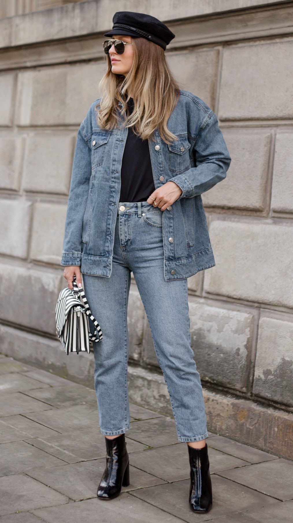 blue-light-skinny-jeans-black-tee-blue-light-jacket-jean-white-bag-black-shoe-booties-blonde-sun-hat-fall-winter-weekend.jpg