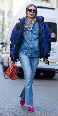 blue-light-flare-jeans-blue-light-jacket-jean-pink-shoe-pumps-layer-blue-navy-jacket-coat-puffer-fall-winter-blonde-lunch.jpg