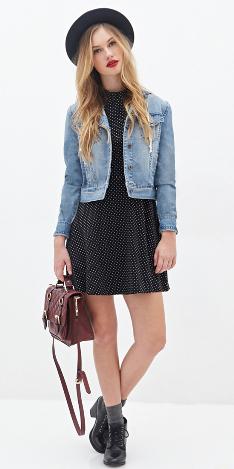 black-dress-mini-blue-light-jacket-jean-burgundy-bag-socks-black-shoe-booties-blonde-hat-fall-winter-lunch.jpg