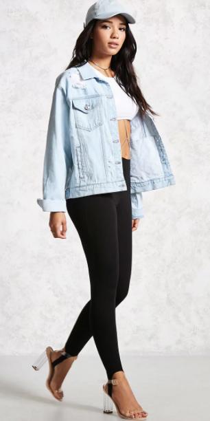 black-leggings-white-bralette-hat-cap-blue-light-jacket-jean-clear-shoe-sandalh-fall-winter-brun-lunch.jpg