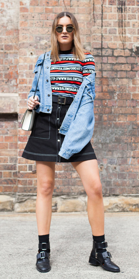 black-mini-skirt-red-tee-stripe-blue-light-jacket-jean-white-bag-belt-socks-black-shoe-booties-fall-winter-hairr-weekend.jpg