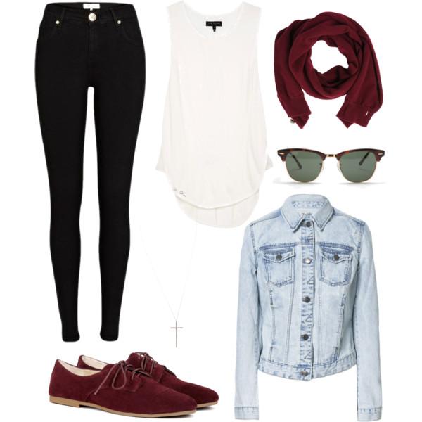 black-skinny-jeans-white-top-tank-blue-light-jacket-jean-burgundy-scarf-sun-burgundy-shoe-brogues-howtowear-fashion-style-outfit-fall-winter-weekend.jpg