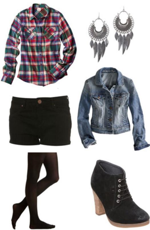 black-shorts-red-plaid-shirt-blue-light-jacket-jean-howtowear-fashion-style-outfit-fall-winter-black-tights-earrings-black-shoe-booties-denim-weekend.jpg