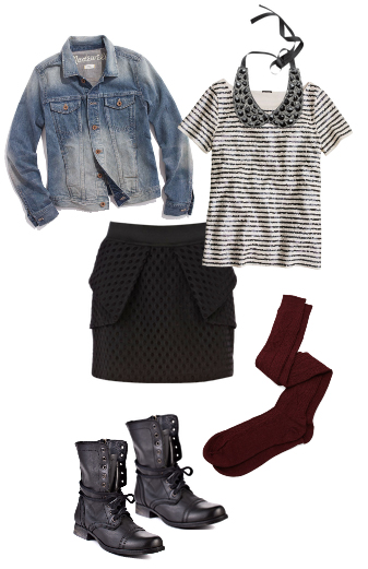 black-mini-skirt-black-tee-stripe-bib-necklace-blue-light-jacket-jean-burgundy-tights-black-shoe-booties-howtowear-fashion-style-outfit-fall-winter-lunch.jpg