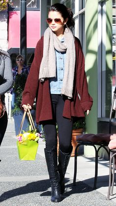black-skinny-jeans-blue-light-jacket-jean-howtowear-style-fashion-fall-winter-black-shoe-boots-burgundy-cardiganl-selenagomez-tan-scarf-bun-sun-hoops-brun-classic-lunch.jpg