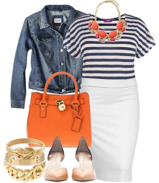 white-pencil-skirt-blue-navy-tee-stripe-blue-med-jacket-jean-bib-necklace-orange-bag-cognac-shoe-pumps-bracelet-howtowear-fashion-style-outfit-spring-summer-lunch-work.jpg