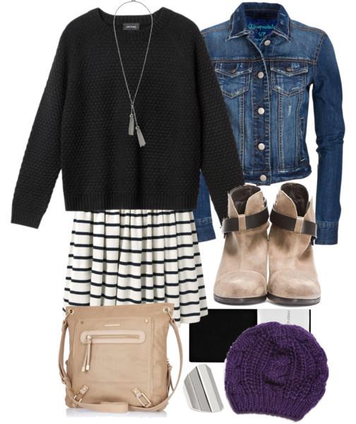 white-mini-skirt-stripe-print-black-sweater-blue-med-jacket-jean-necklace-pend-beanie-purple-tan-shoe-booties-tan-bag-black-tights-fall-winter-weekend.jpg