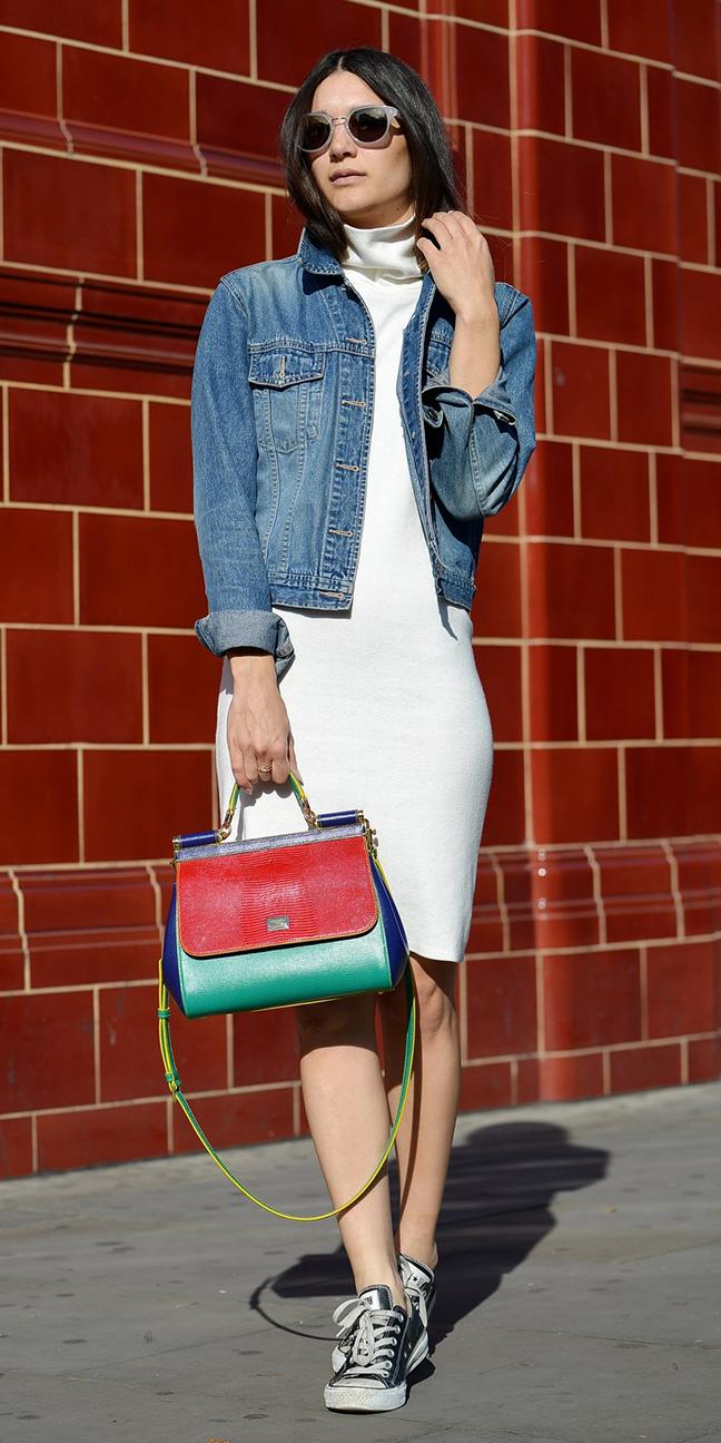white-dress-bodycon-blue-med-jacket-jean-brun-sun-red-bag-black-shoe-sneakers-fall-winter-weekend.JPG