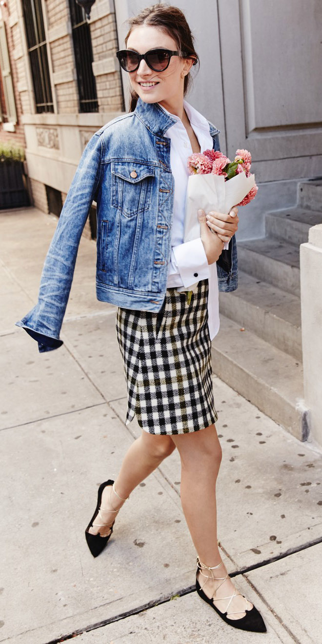 white-mini-skirt-check-print-white-collared-shirt-blue-med-jacket-jean-sun-bun-black-shoe-flats-fall-winter-hairr-lunch.jpg