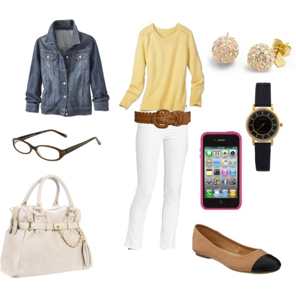white-skinny-jeans-yellow-sweater-belt-blue-med-jacket-jean-white-bag-tan-shoe-flats-watch-studs-howtowear-fashion-style-outfit-spring-summer-work.jpg