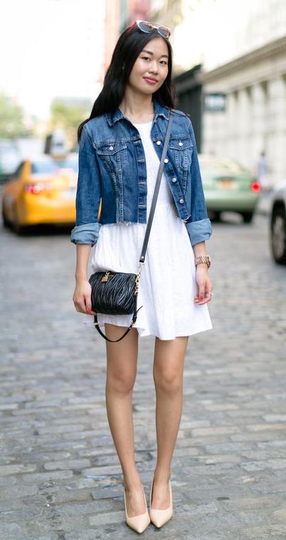 white-dress-mini-blue-med-jacket-jean-black-bag-sun-tan-shoe-pumps-howtowear-fashion-style-outfit-spring-summer-brun-lunch.jpg