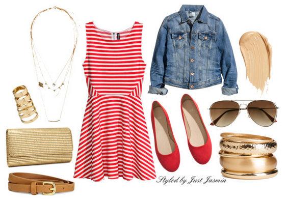 red-dress-blue-med-jacket-jean-stripe-print-mini-red-shoe-flats-necklace-tan-bag-clutch-bracelet-sun-belt-howtowear-fashion-style-outfit-spring-summer-lunch.jpg