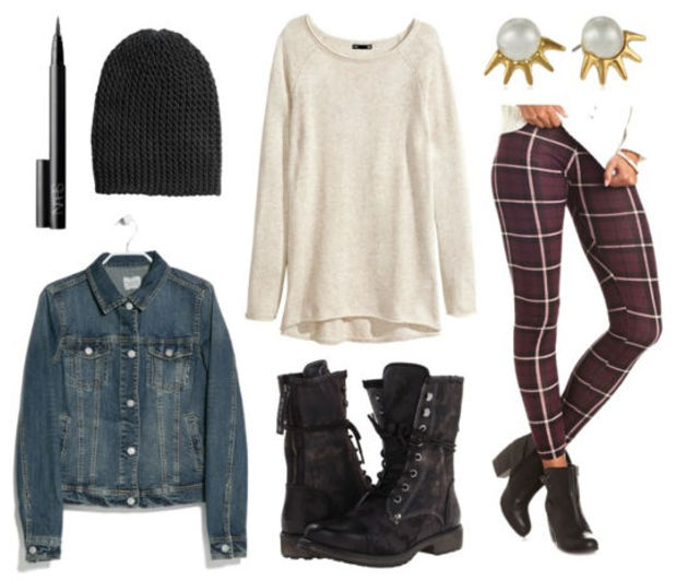 r-burgundy-leggings-zprint-white-tee-beanie-howtowear-fashion-style-outfit-fall-winter-beanie-black-shoe-booties-blue-med-jacket-jean-plaid-pearl-studs-weekend.jpg