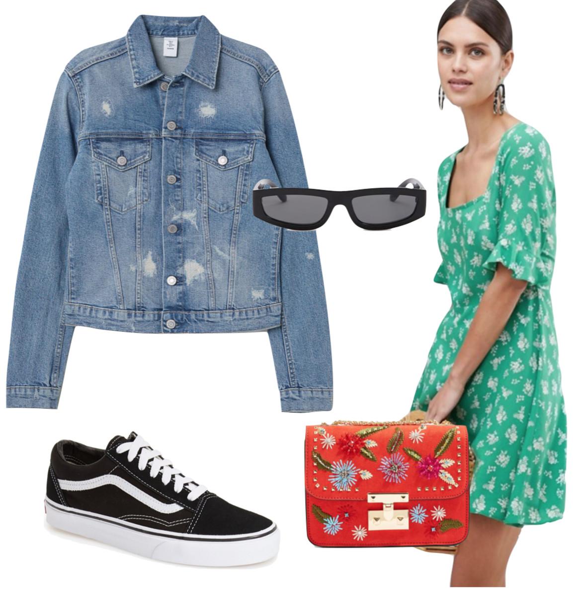 green-emerald-dress-mini-floral-print-red-bag-black-shoe-sneakers-blue-med-jacket-jean-sun-spring-summer-lunch.jpg