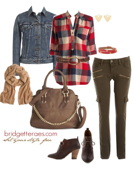 green-olive-skinny-jeans-red-plaid-shirt-blue-med-jacket-jean-howtowear-fashion-style-outfit-fall-winter-tan-scarf-tan-bag-brown-shoe-booties-belt-weekend.jpg