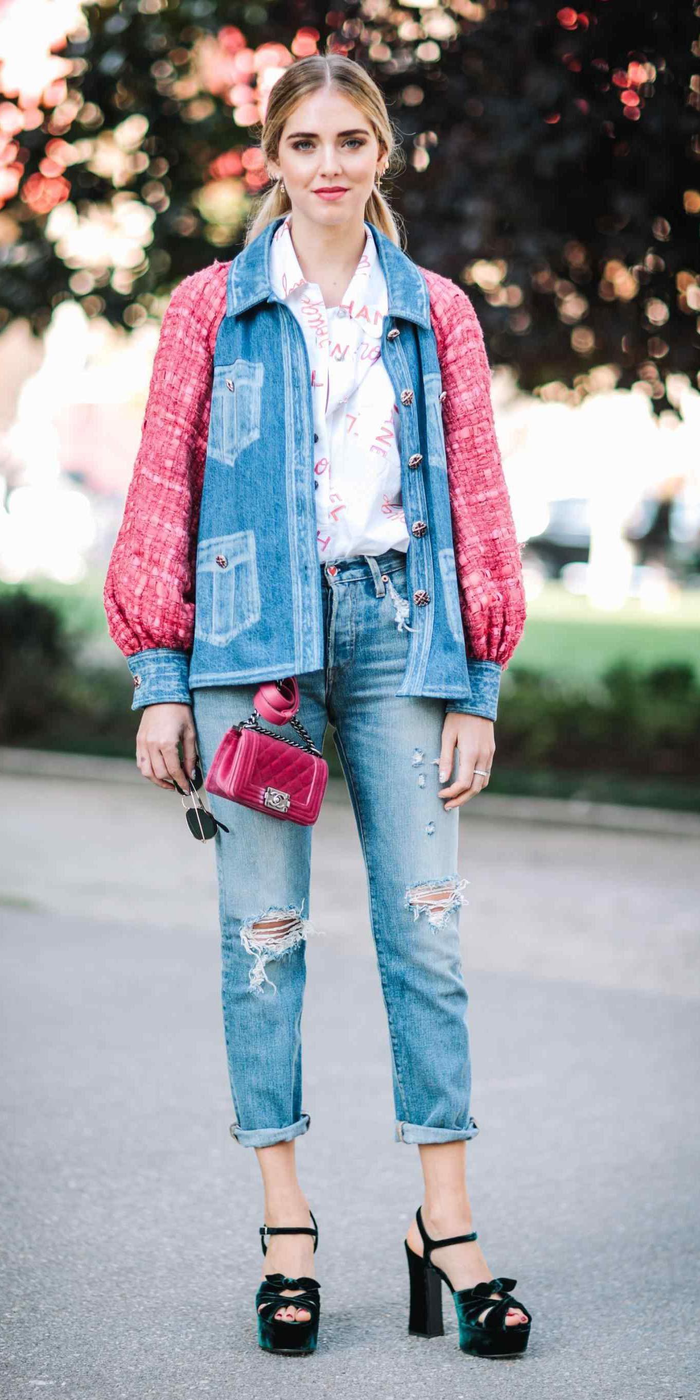 blue-med-skinny-jeans-white-collared-shirt-blondey-pony-blue-med-jacket-jean-green-shoe-sandalh-spring-summer-weekend.jpg