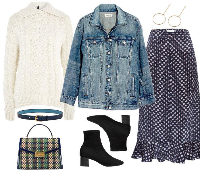 white-sweater-blue-med-jacket-jean-black-shoe-booties-earrings-green-bag-print-beltoverjeanjacket-blue-navy-midi-skirt-fall-winter-lunch.jpg
