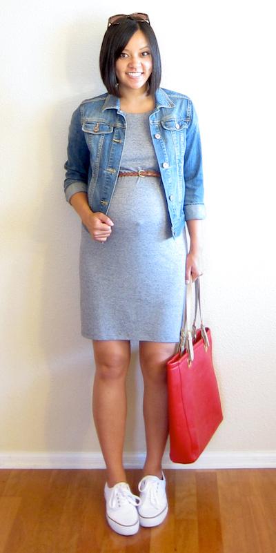 grayl-dress-blue-med-jacket-jean-white-shoe-sneakers-red-bag-tote-skinny-belt-sun-maternity-tshirt-wear-style-fashion-spring-summer-weekend.jpg