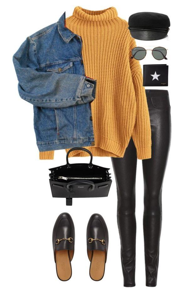 black-skinny-jeans-yellow-sweater-blue-med-jacket-jean-black-shoe-loafers-black-bag-hat-sun-fall-winter-weekend.jpg