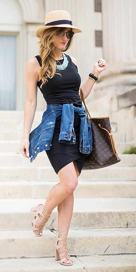 black-dress-bodycon-tan-shoe-sandalh-blue-med-jacket-jean-hat-straw-brown-bag-tote-blonde-sun-bib-necklace-spring-summer-lunch.jpg